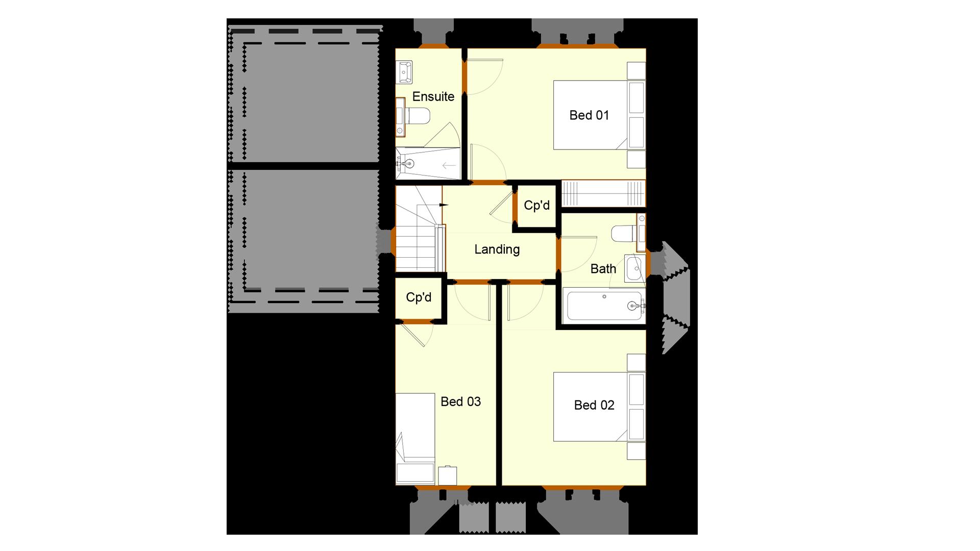 Layout of first floor plot1 Ivy court.
