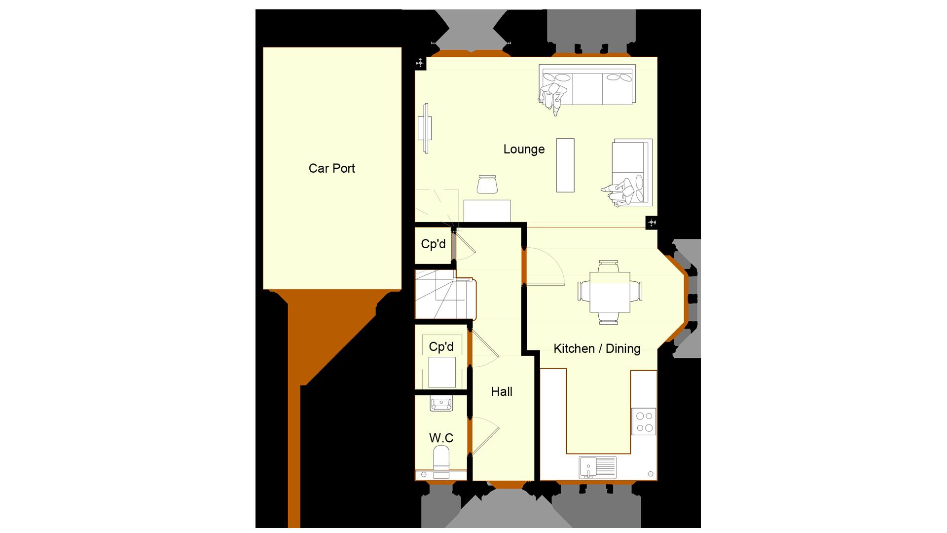 Layout of Ground floor Plot1 Ivy court.