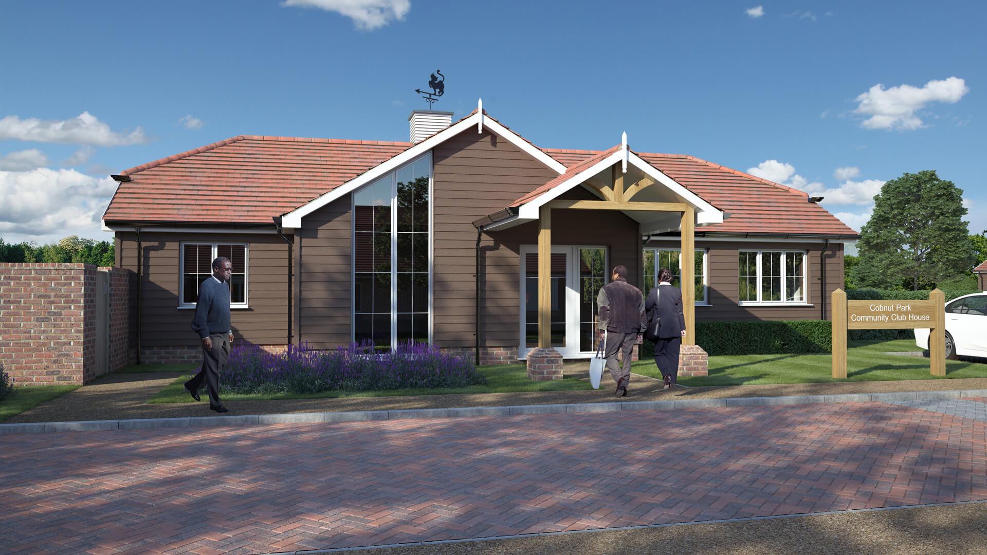 CGI of Cobnut Park Community clubhouse.