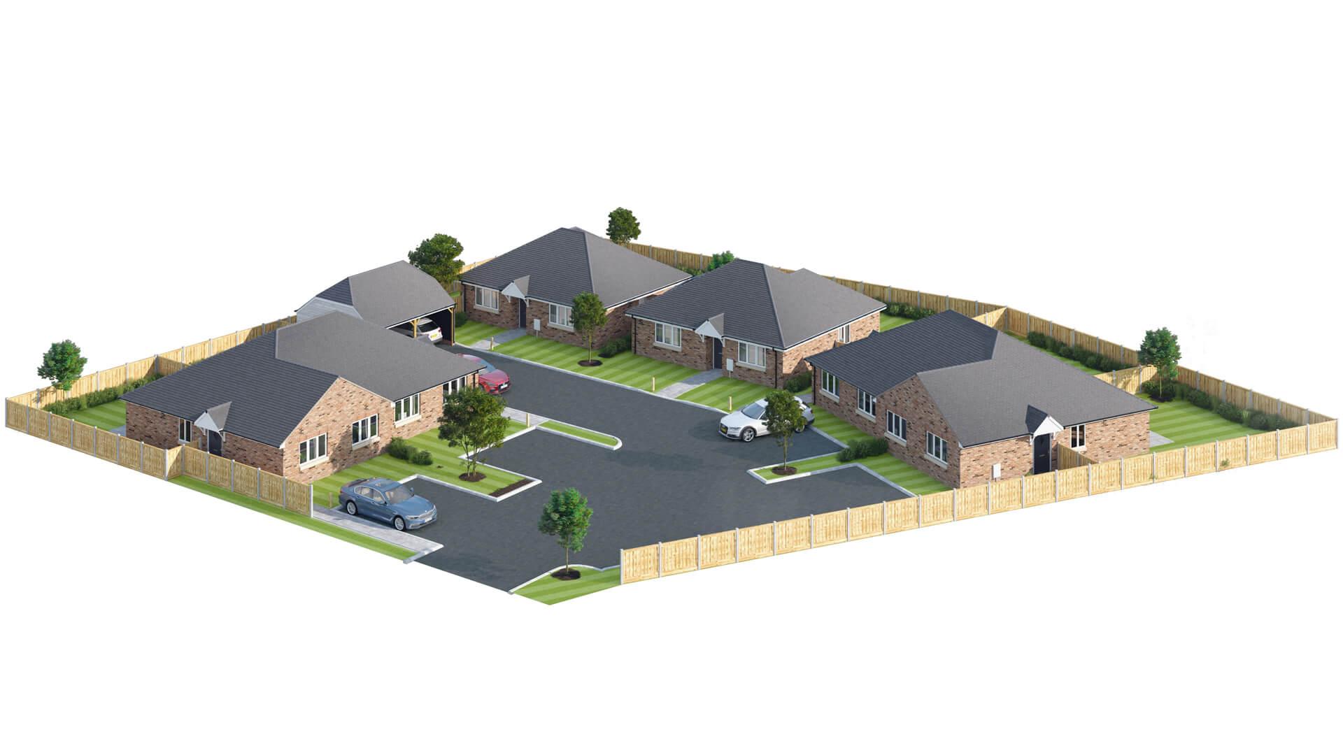 CGI of Churchfields phase 2 site plan.