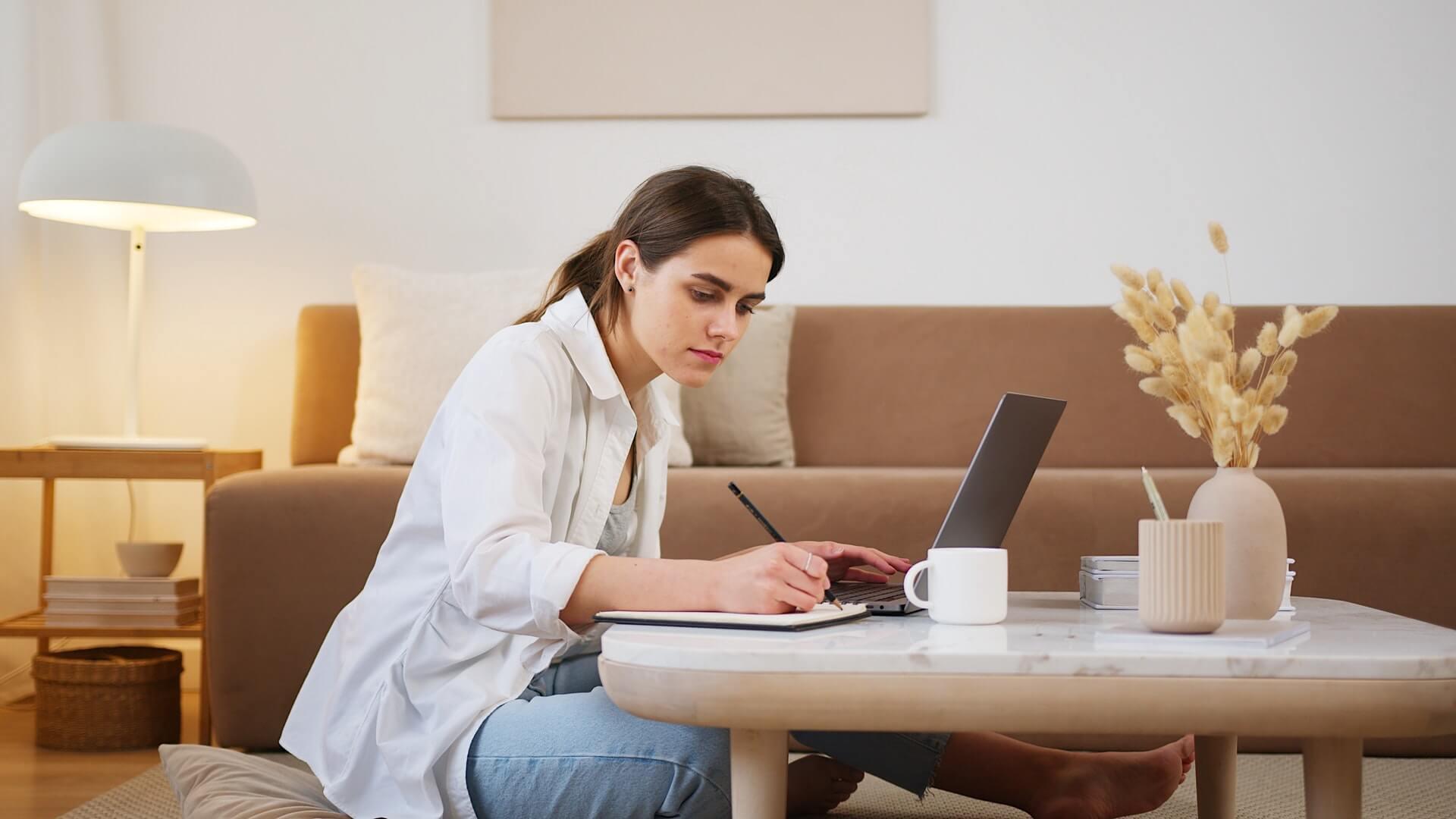 Woman learning online in lockdown