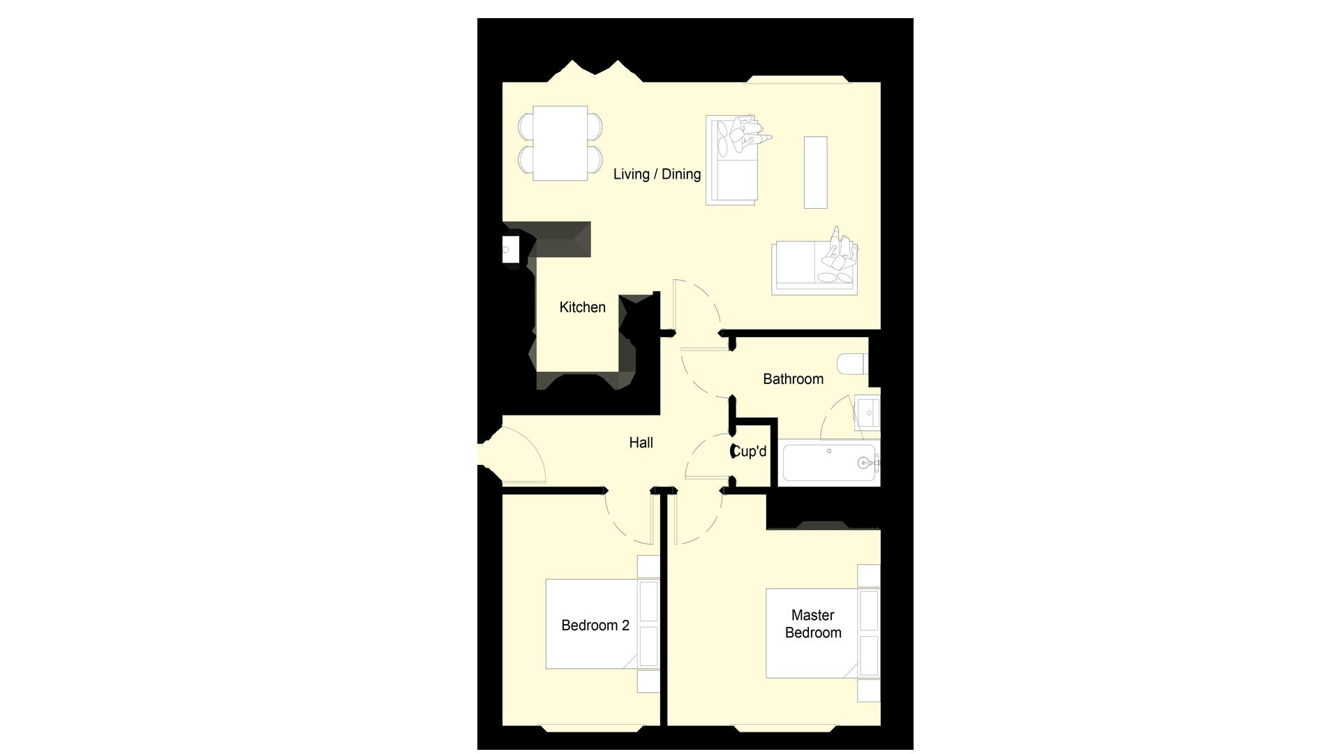 Layout of Ground floor Plot 1 Phase 2 Churchfields