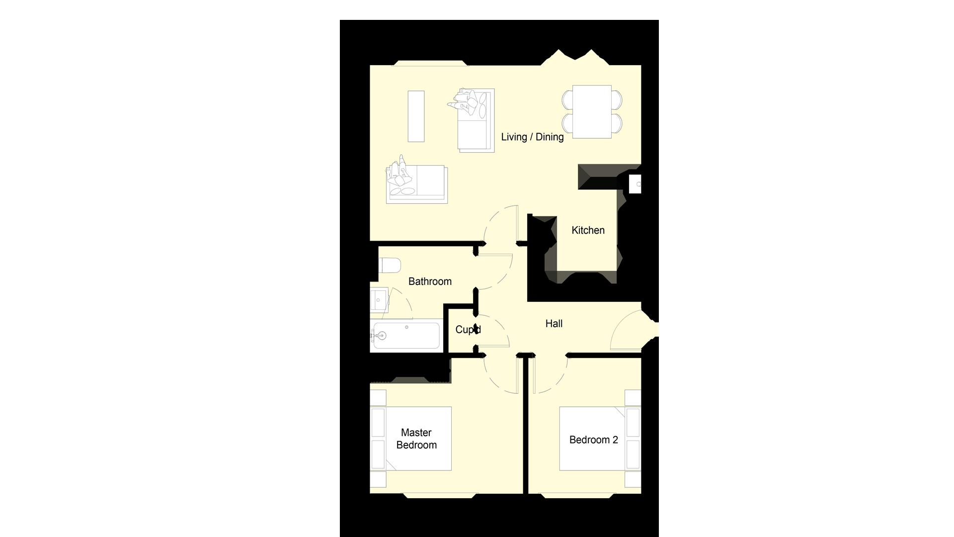 Layout of ground floor Plot 2 Phase 2 Churchfields.