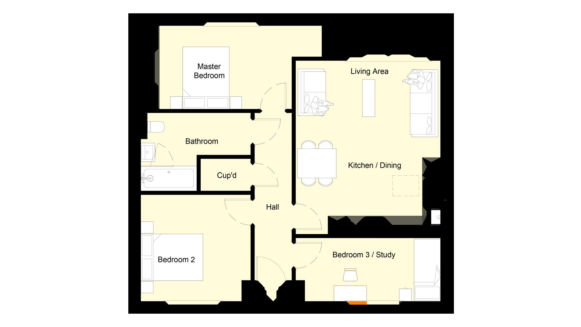 Layout of ground floor Plot 3 Phase 2 Churchfields