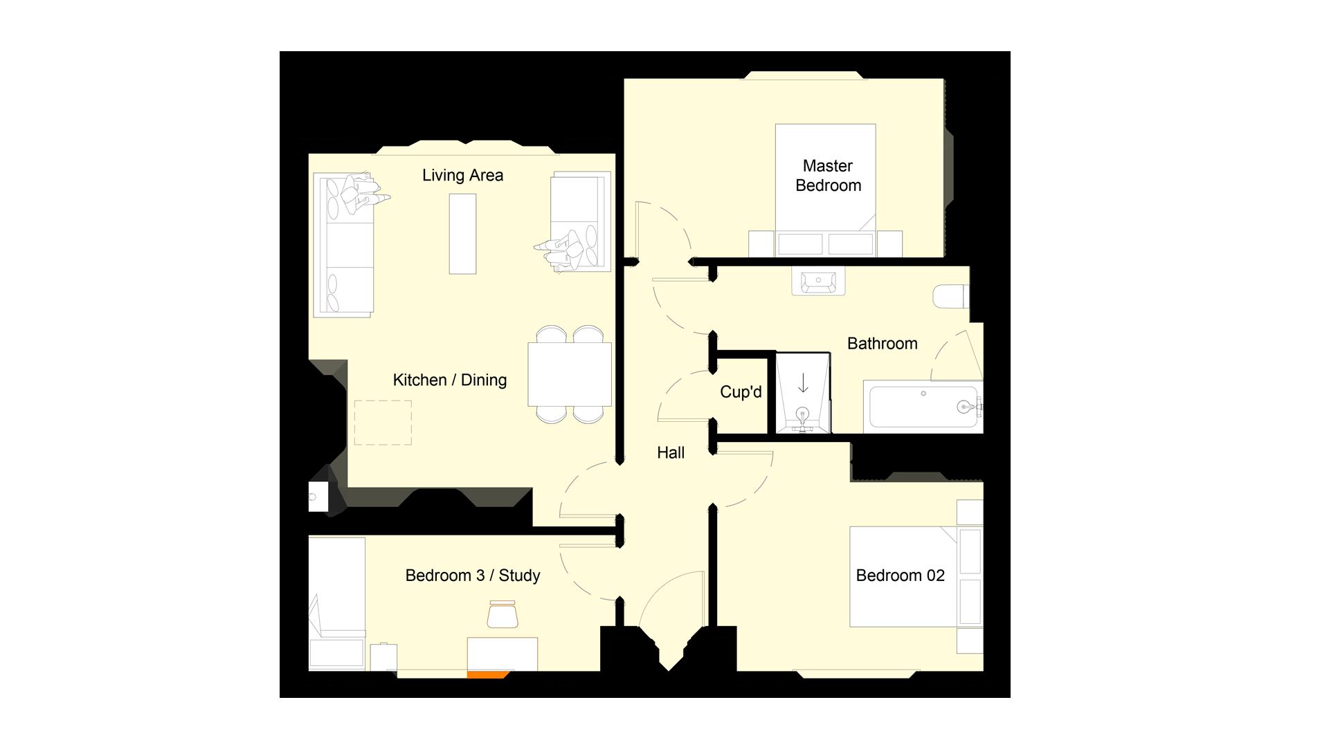 Layout of ground floor sales plan Plot 2 phase 2 Churchfields.