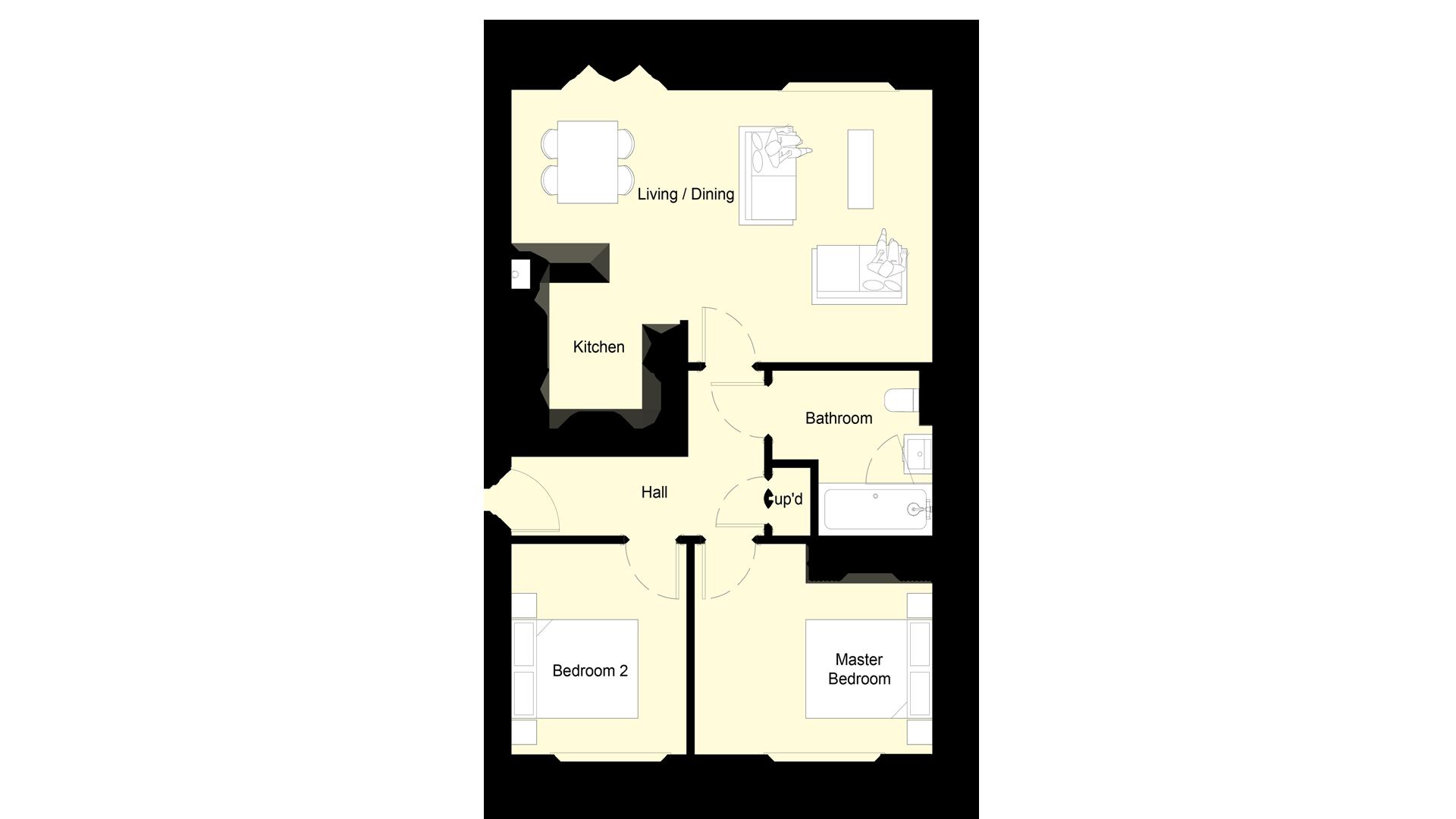 Layout of the ground floor at Churchfields plot 5 sales plan