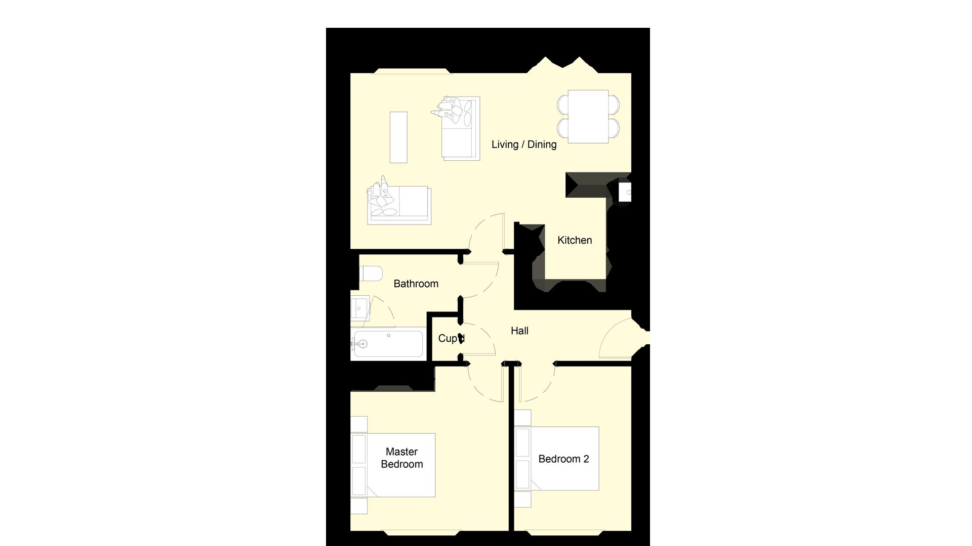 Layout of the ground floor at Churchfields plot 6