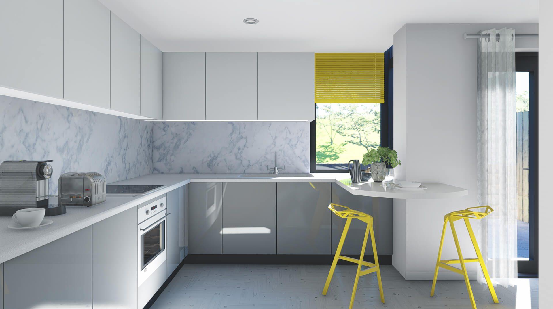 CGI of the kitchen at the Hive development.