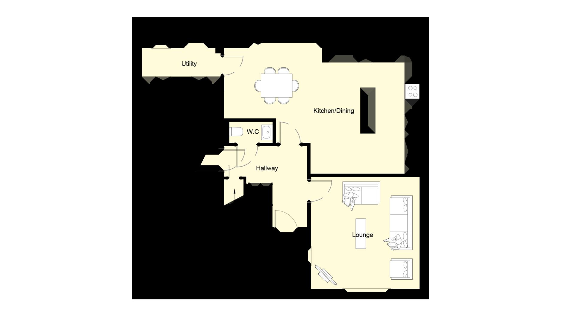 Layout of ground floor Plot 1 Woodside court.