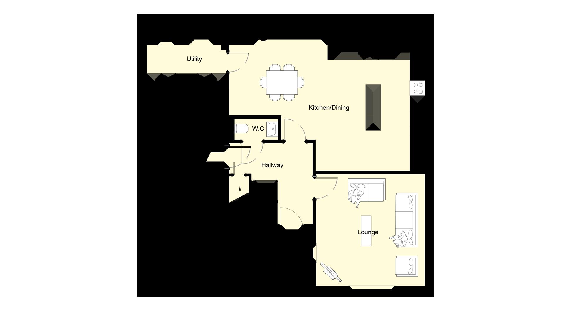 Layout of ground floor sales plan Plot 2 Woodside court.
