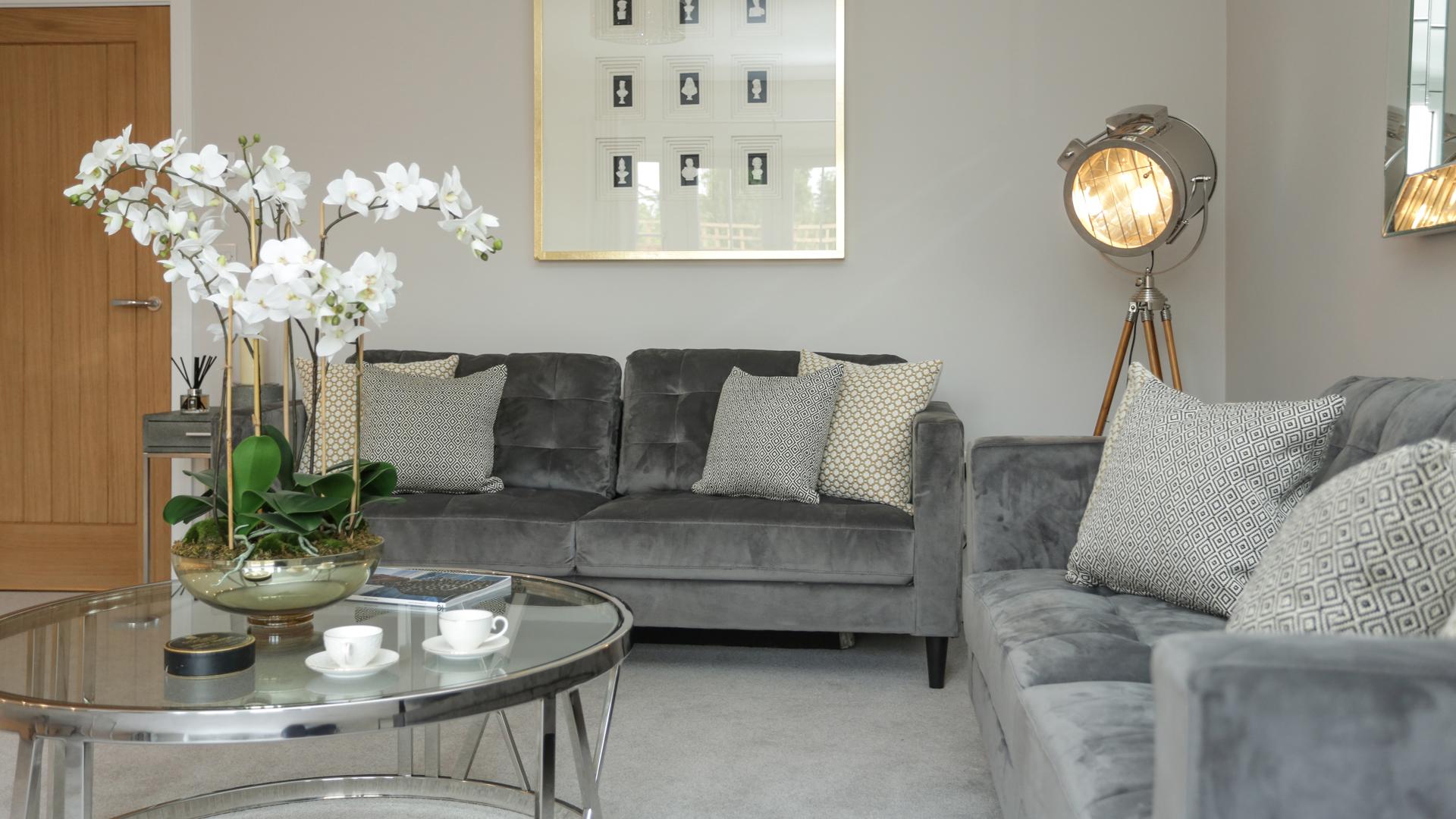 Cobnut Park with two grey sofas and a spotlight.