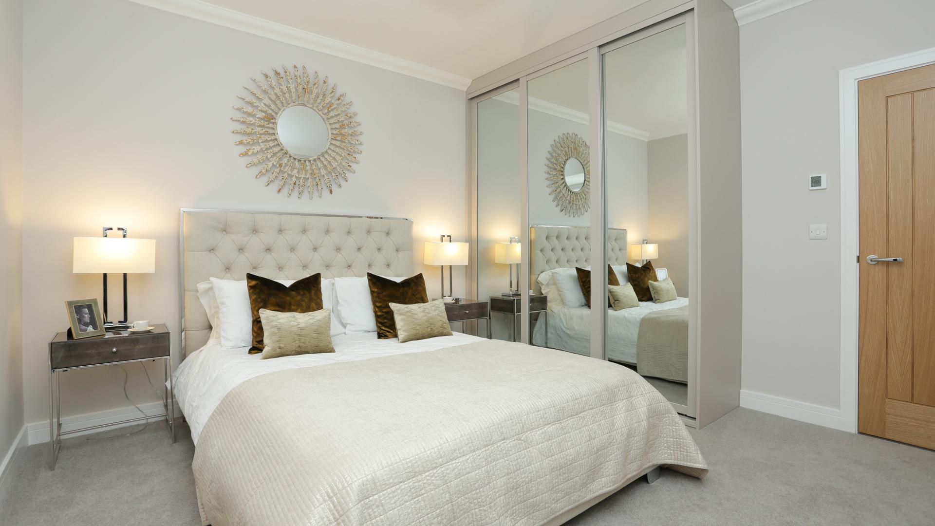 Cobnut Park Plot 7 master Bedroom with a mirror wardrobe.