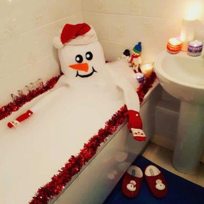 Toy snowman in the bath
